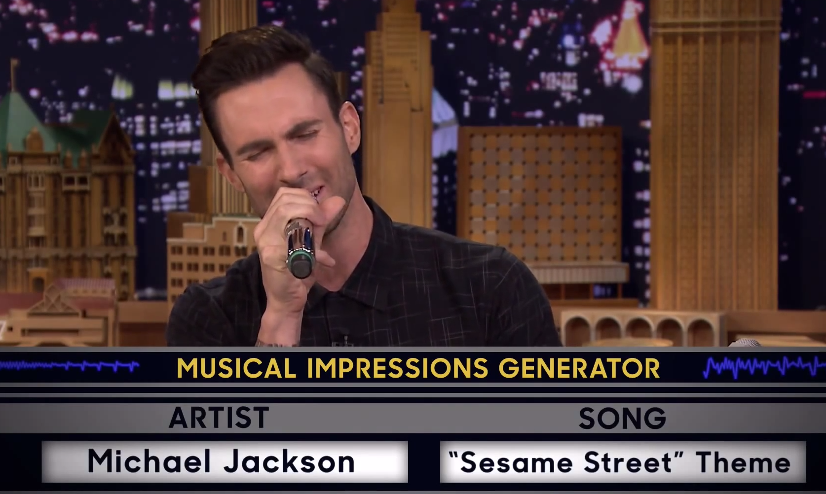 Photo of Jimmy challenges Adam to a friendly game of random musical impressions