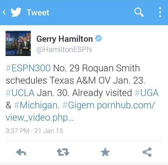 Photo of ESPN Recruiting Analyst Gerry Hamilton Accidentally Tweets Porn Link