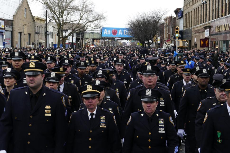 Photo of Wenjian Liu's Funeral Draws Thousands Of Officers, Supporters In Brooklyn
