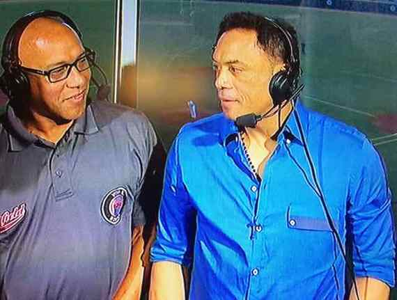 Photo of Interview with Hall of Famer Roberto Alomar at Caribbean Baseball Series