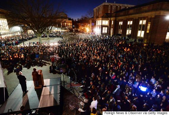 Photo of Vigil For Chapel Hill Shooting Victims Unites Rival Universities