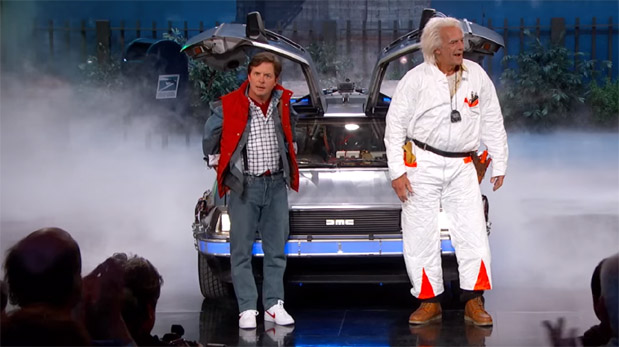 Photo of Marty McFly and Doc Brown Visit Jimmy Kimmel