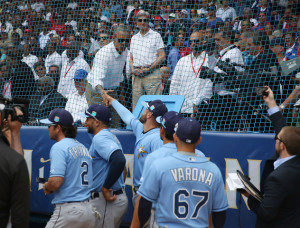 HAVANA, CUBA - MARCH 22: U.S. President Barack Obama shakes hands with Tampa Bay Rays players before they take the field in an exhibition game between the Cuban national team and the Major League Baseball at the Estado Latinoamericano March 22, 2016 in Havana, Cuba. This is the first time a sittng president has visited Cuba in 88 years. (Photo by Joe Raedle/Getty Images)