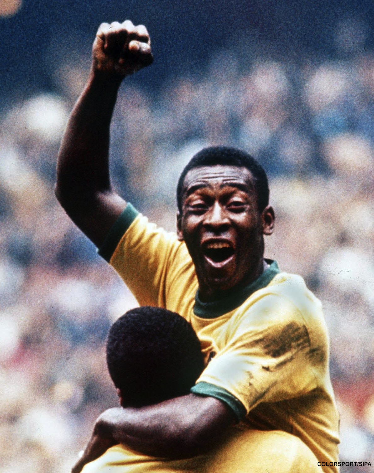 PELE &  JAIRZINHO (7) CELEBRATE WINNING THE WORLD CUP FINAL FOR BRAZIL, 1970. CREDIT: COLORSPORT / SIPA / SVEN SIMON - UK USE ONLY