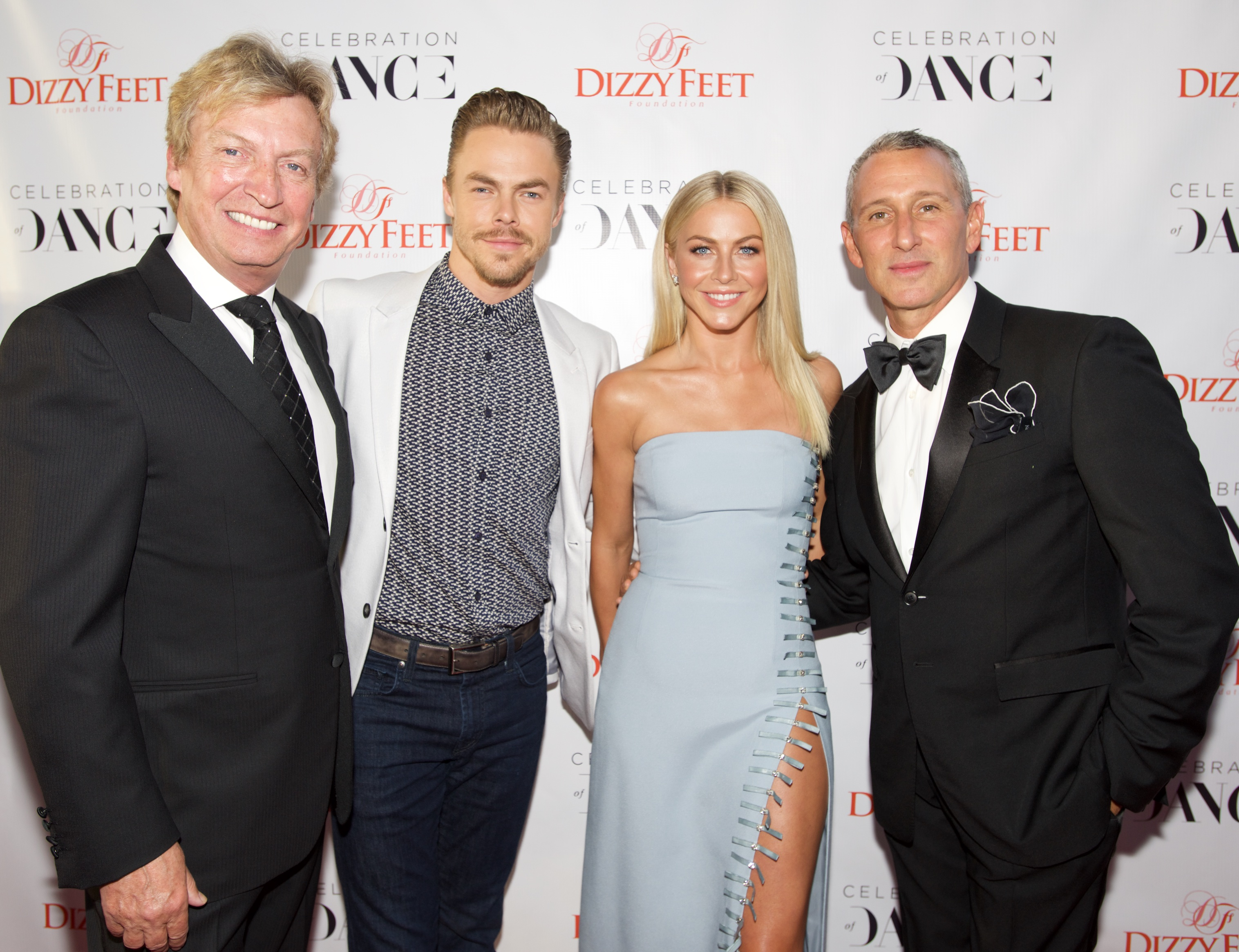 LOS ANGELES, CA - SEPTEMBER 10: (L-R) Host Nigel Lythgoe, professional dancer Derek Hough, dancer Julianne Hough and producer Adam Shankman attend the 6th Annual Celebration of Dance Gala Presented by The Dizzy Feet Foundation at The Novo by Microsoft on September 10, 2016 in Los Angeles, California. (Photo by Earl Gibson III/Getty Images for Dizzy Feet Foundation)