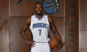 ORLANDO, FL - JUNE 30: Orlando Magic general manager Rob Hennigan and head coach Frank Vogel introduce new Magic player Serge Ibaka during a press conference on June 30, 2016 at Amway Center in Orlando, Florida. NOTE TO USER: User expressly acknowledges and agrees that, by downloading and or using this photograph, User is consenting to the terms and conditions of the Getty Images License Agreement. Mandatory Copyright Notice: Copyright 2016 NBAE (Photo by Fernando Medina/NBAE via Getty Images)