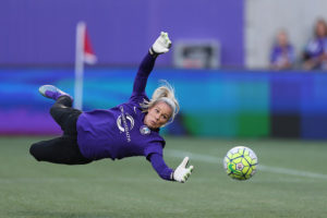 ORLANDO, FL - APRIL 23: Ashlyn Harris #1 of Orlando Pride is seen during warmups prior to a NWSL soccer match against the Houston Dash at the Orlando Citrus Bowl on April 23, 2016 in Orlando, Florida. The Orlando Pride won the game 3-1.  (Photo by Alex Menendez/Getty Images)
