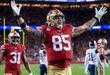 Photo of 49ers' George Kittle awards Super Bowl trip to widow, son of fallen soldier