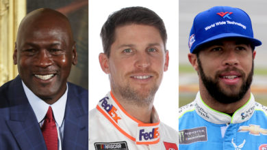 Photo of Michael Jordan, Denny Denny Hamlin, Michael Jordan partner on NASCAR team with Bubba Wallace driving
